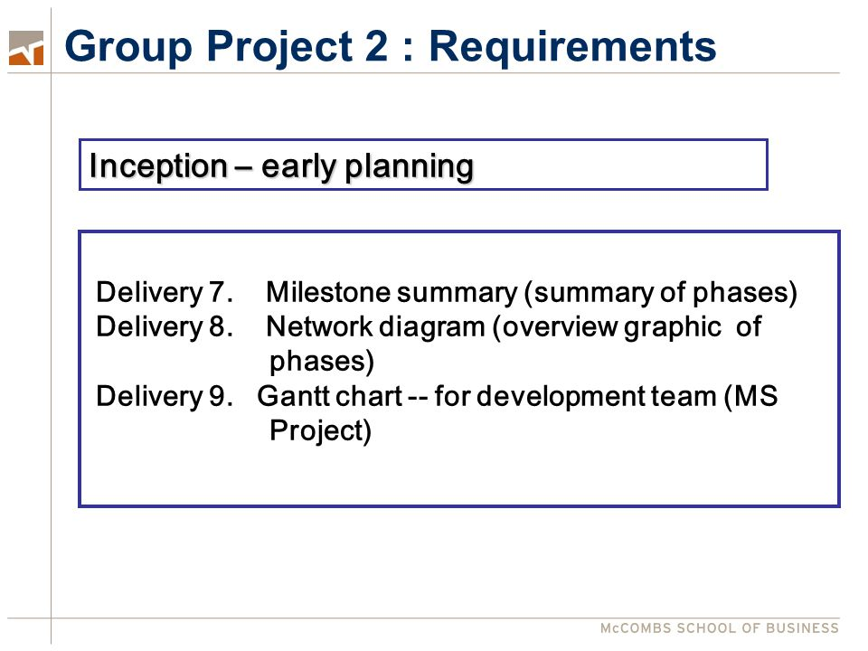 Group Project 2 : Requirements Delivery 7. Milestone summary (summary of phases) Delivery 8.