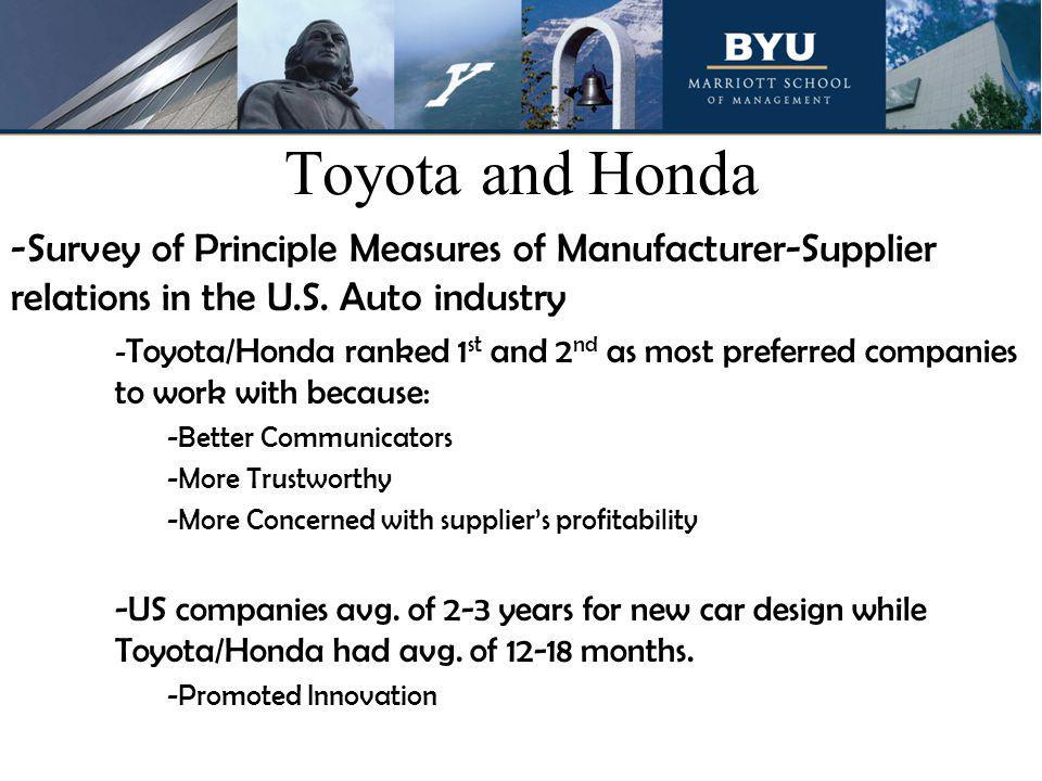 Toyota and Honda -Survey of Principle Measures of Manufacturer-Supplier relations in the U.S. Auto industry - Toyota/Honda ranked 1 st and 2 nd as mos