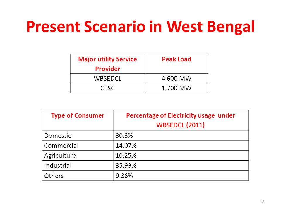 Present Scenario in West Bengal Major utility Service Provider Peak Load WBSEDCL4,600 MW CESC1,700 MW Type of Consumer Percentage of Electricity usage under WBSEDCL (2011) Domestic30.3% Commercial14.07% Agriculture10.25% Industrial35.93% Others9.36% 12
