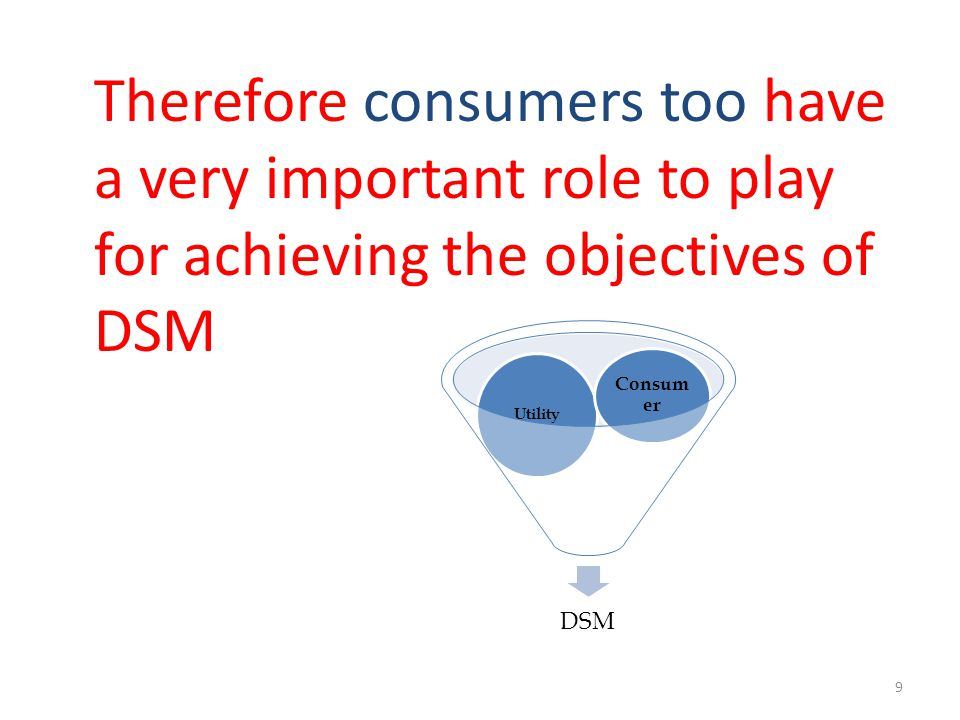 Therefore consumers too have a very important role to play for achieving the objectives of DSM DSM Utility Consum er 9