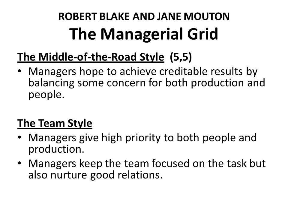 ROBERT BLAKE AND JANE MOUTON The Managerial Grid The Middle-of-the-Road Style (5,5) Managers hope to achieve creditable results by balancing some concern for both production and people.