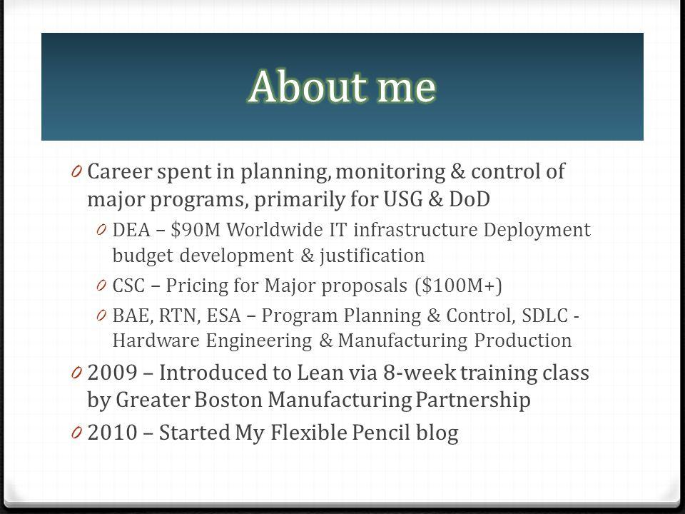 0 Career spent in planning, monitoring & control of major programs, primarily for USG & DoD 0 DEA – $90M Worldwide IT infrastructure Deployment budget
