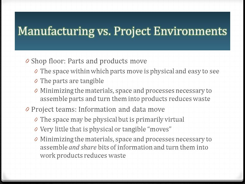 0 Shop floor: Parts and products move 0 The space within which parts move is physical and easy to see 0 The parts are tangible 0 Minimizing the materi