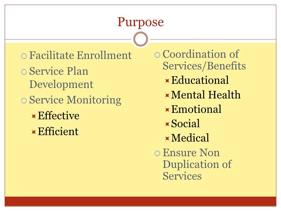 Purpose Facilitate Enrollment Service Plan Development Service Monitoring Effective Efficient Coordination of Services/Benefits Educational Mental Health Emotional Social Medical Ensure Non Duplication of Services