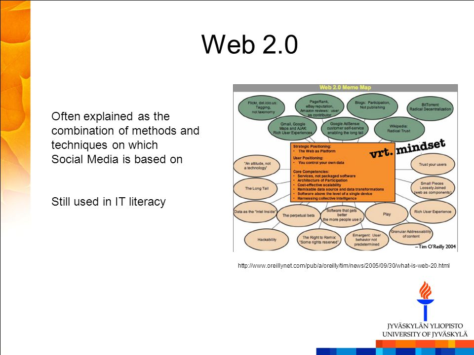 Web 2.0 Often explained as the combination of methods and techniques on which Social Media is based on Still used in IT literacy http://www.oreillynet