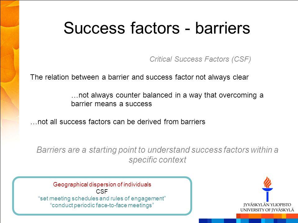 Success factors - barriers Critical Success Factors (CSF) The relation between a barrier and success factor not always clear …not always counter balan