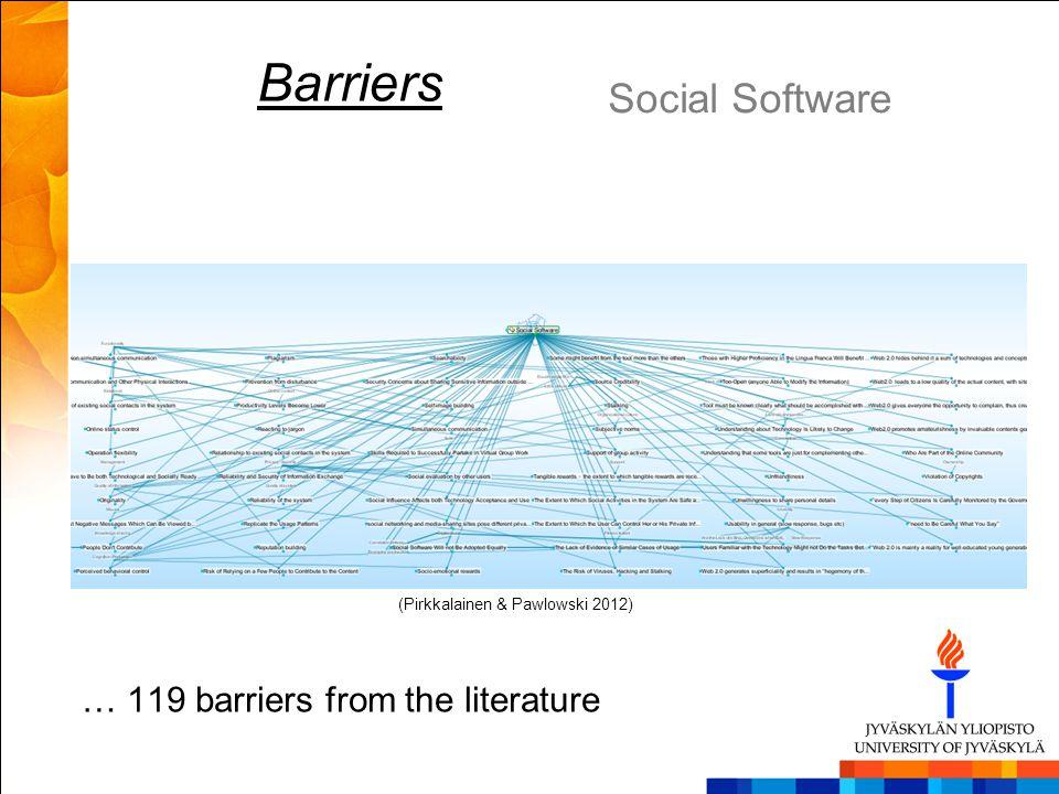 Barriers Social Software (Pirkkalainen & Pawlowski 2012) … 119 barriers from the literature