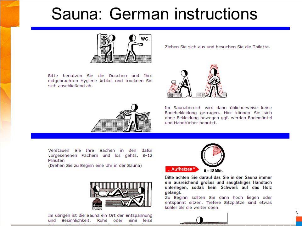 Sauna: German instructions