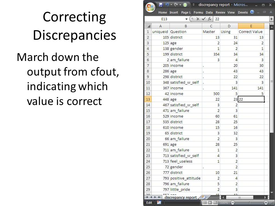 Correcting Discrepancies March down the output from cfout, indicating which value is correct