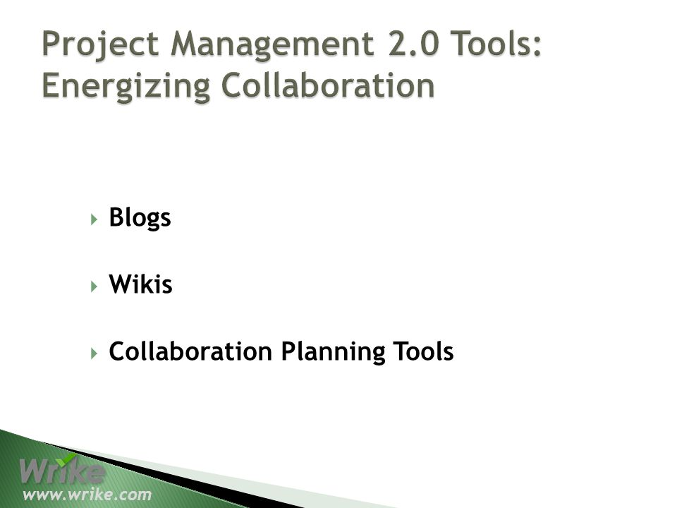 Blogs Wikis Collaboration Planning Tools