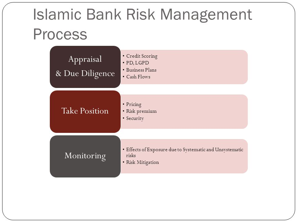 Islamic Bank Risk Management Process Credit Scoring PD, LGPD Business Plans Cash Flows Appraisal & Due Diligence Pricing Risk premium Security Take Position Effects of Exposure due to Systematic and Unsystematic risks Risk Mitigation Monitoring