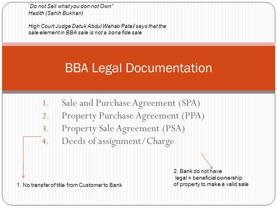BBA Legal Documentation 1.Sale and Purchase Agreement (SPA) 2.