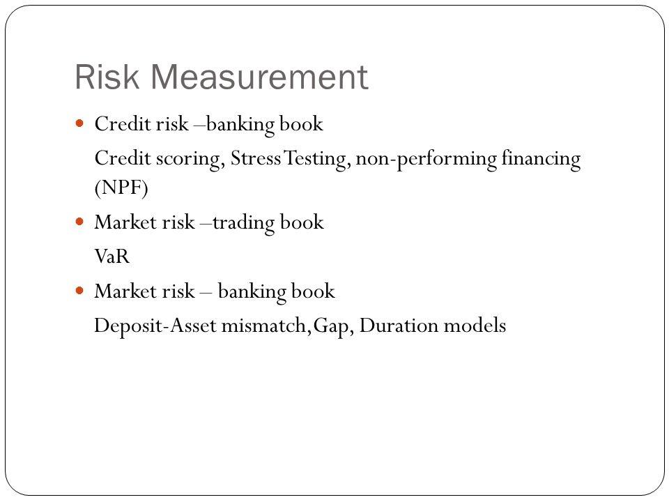 Risk Measurement Credit risk –banking book Credit scoring, Stress Testing, non-performing financing (NPF) Market risk –trading book VaR Market risk – banking book Deposit-Asset mismatch,Gap, Duration models