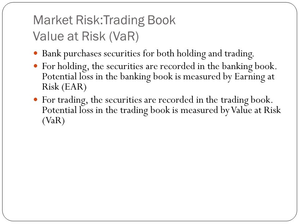 Market Risk:Trading Book Value at Risk (VaR) Bank purchases securities for both holding and trading.