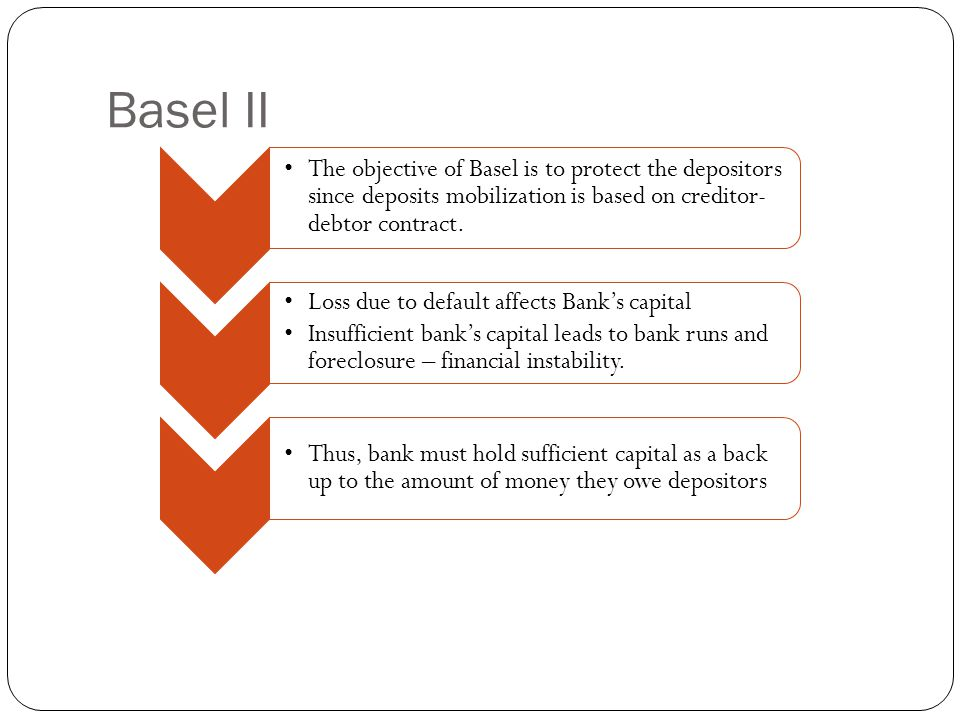 Basel II The objective of Basel is to protect the depositors since deposits mobilization is based on creditor- debtor contract.
