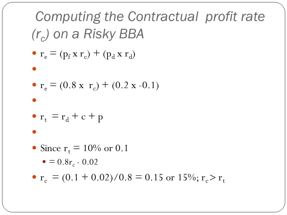 Computing the Contractual profit rate (r c ) on a Risky BBA r e = (p f x r c ) + (p d x r d ) r e = (0.8 x r c ) + (0.2 x -0.1) r t = r d + c + p Since r t = 10% or 0.1 = 0.8r c - 0.02 r c = (0.1 + 0.02)/0.8 = 0.15 or 15%; r c r t