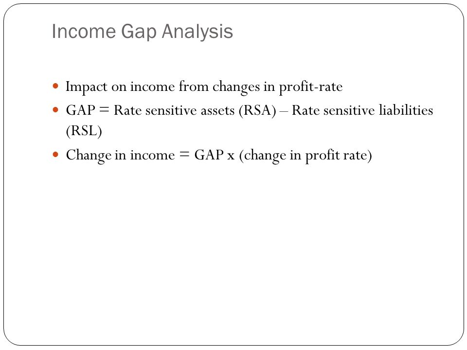 Income Gap Analysis Impact on income from changes in profit-rate GAP = Rate sensitive assets (RSA) – Rate sensitive liabilities (RSL) Change in income = GAP x (change in profit rate)