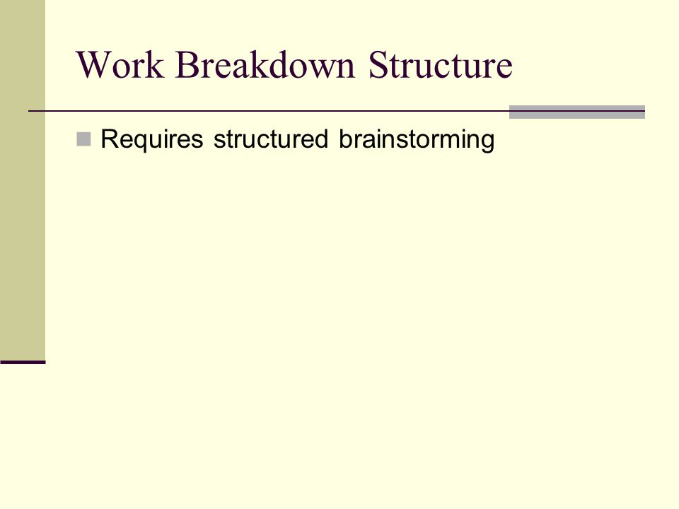 Work Breakdown Structure Requires structured brainstorming