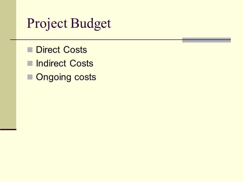 Project Budget Direct Costs Indirect Costs Ongoing costs