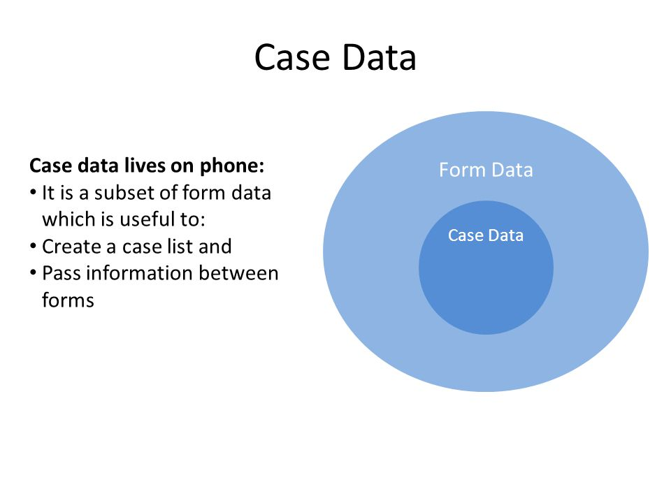 Form Data Case Data It is a subset of form data which is useful to: Create a case list and Pass information between forms Case Data Case data lives on phone: