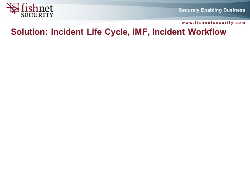 P A G E 9 Solution: Incident Life Cycle, IMF, Incident Workflow