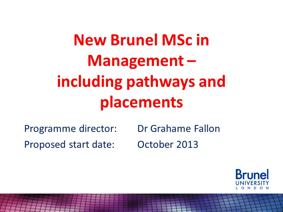 Background to Brunel MSc in Management Successful, longstanding programme – 56th in FT Masters in Management, 2011 list (up from 59 th in 2010); 8 th globally for career progression Target market- UK/EU and international students wanting to enhance their career prospects as managers or progress to a PhD Current market situation – strong brand, enhanced market position, enhanced competiveness, strong student recruitment, sustainability (70+ students enrolled, 2012-13 ) 2