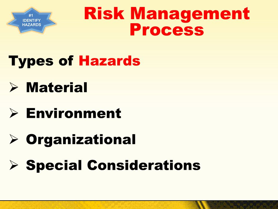 Risk Management Process Types of Hazards Material Environment Organizational Special Considerations