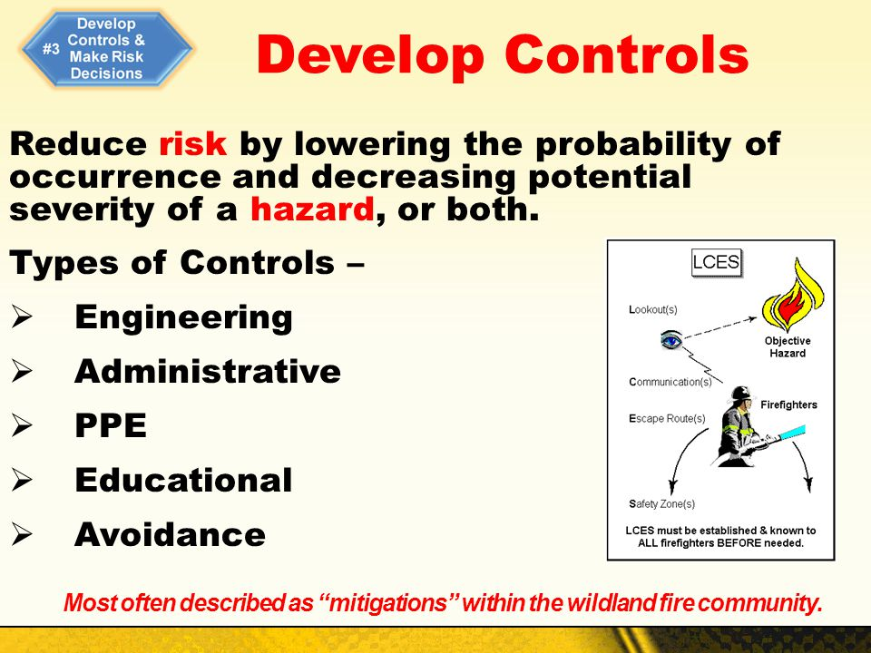 Develop Controls Reduce risk by lowering the probability of occurrence and decreasing potential severity of a hazard, or both. Types of Controls – Eng