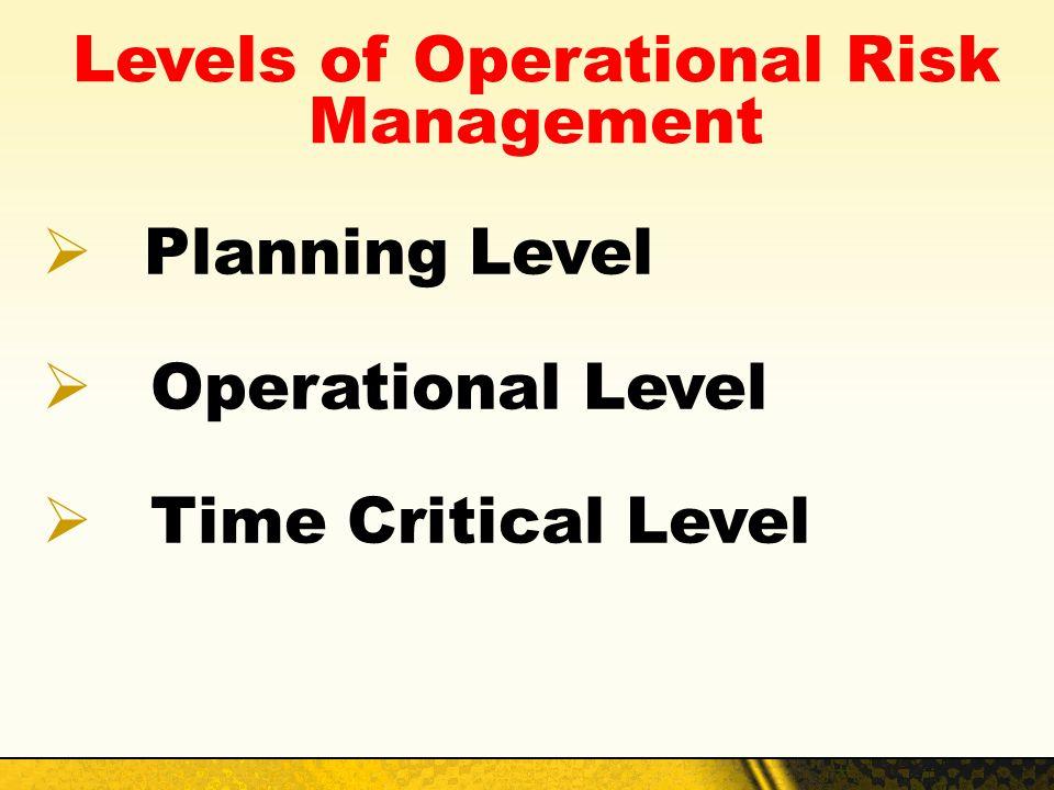 Levels of Operational Risk Management Planning Level Operational Level Time Critical Level
