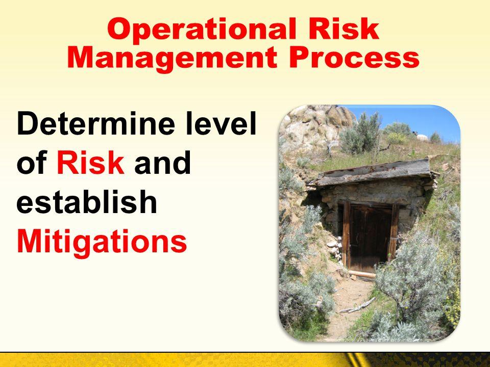 Operational Risk Management Process Determine level of Risk and establish Mitigations