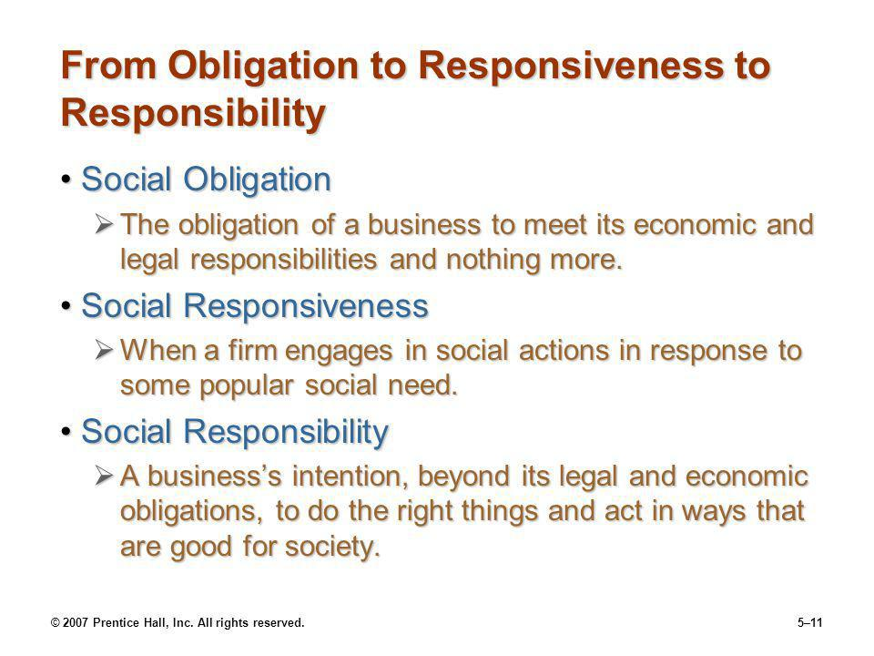 © 2007 Prentice Hall, Inc. All rights reserved.5–11 From Obligation to Responsiveness to Responsibility Social ObligationSocial Obligation The obligat