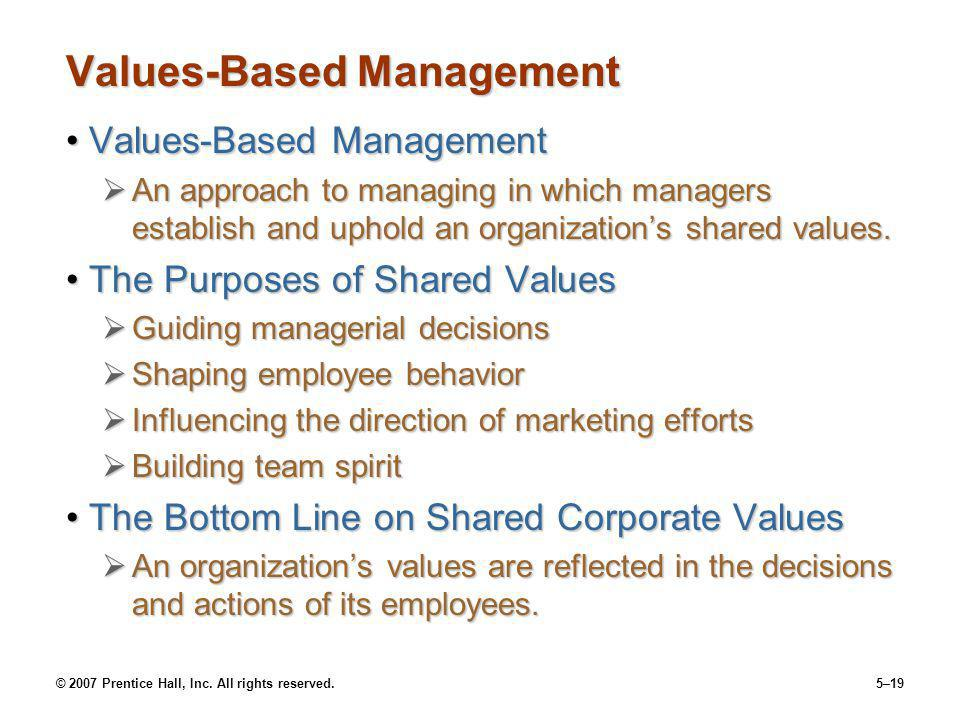 © 2007 Prentice Hall, Inc. All rights reserved.5–19 Values-Based Management Values-Based ManagementValues-Based Management An approach to managing in