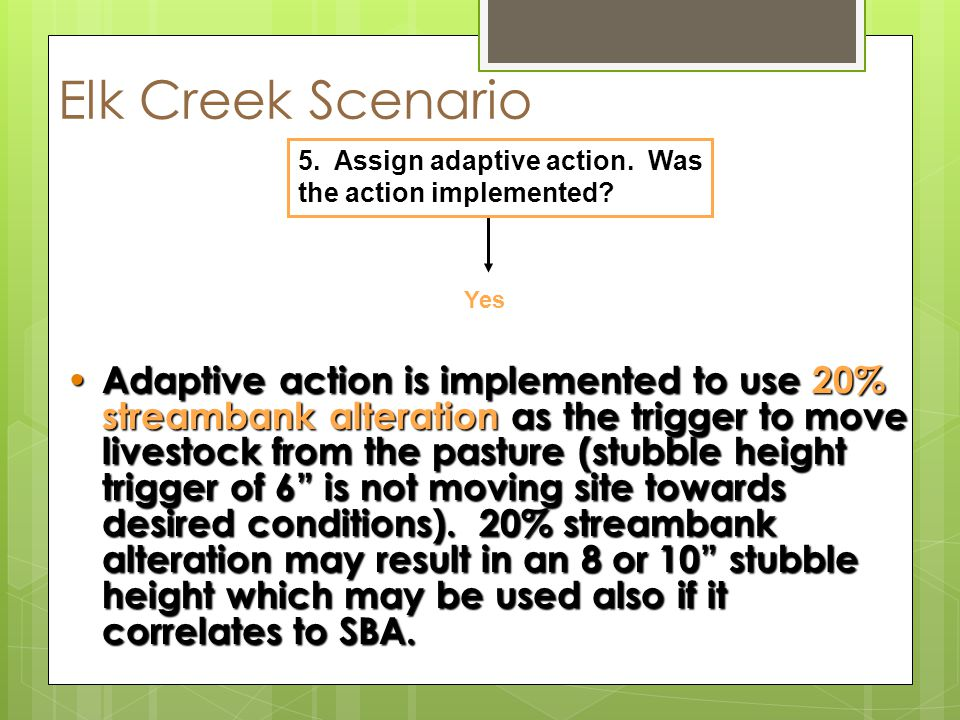 Elk Creek Scenario Yes 5.Assign adaptive action. Was the action implemented.