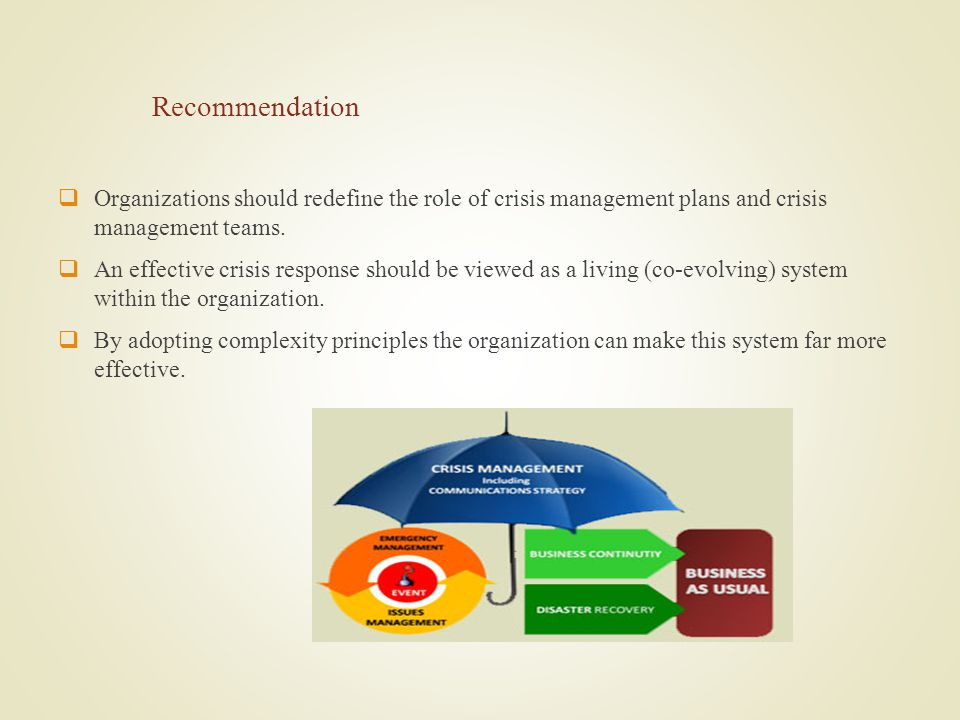 Recommendation Organizations should redefine the role of crisis management plans and crisis management teams.