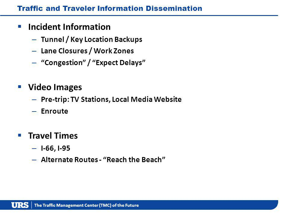 The Traffic Management Center (TMC) of the Future Traffic and Traveler Information Dissemination Incident Information – Tunnel / Key Location Backups – Lane Closures / Work Zones – Congestion / Expect Delays Video Images – Pre-trip: TV Stations, Local Media Website – Enroute Travel Times – I-66, I-95 – Alternate Routes - Reach the Beach