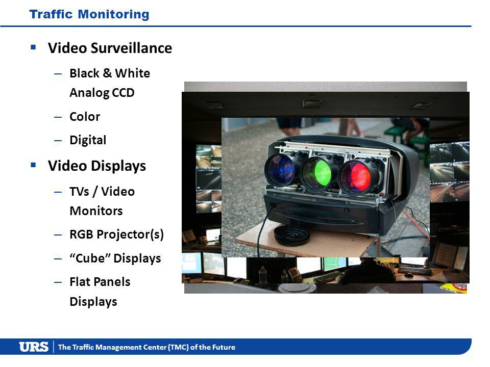 The Traffic Management Center (TMC) of the Future Traffic Monitoring Video Surveillance – Black & White Analog CCD – Color – Digital Video Displays – TVs / Video Monitors – RGB Projector(s) – Cube Displays – Flat Panels Displays