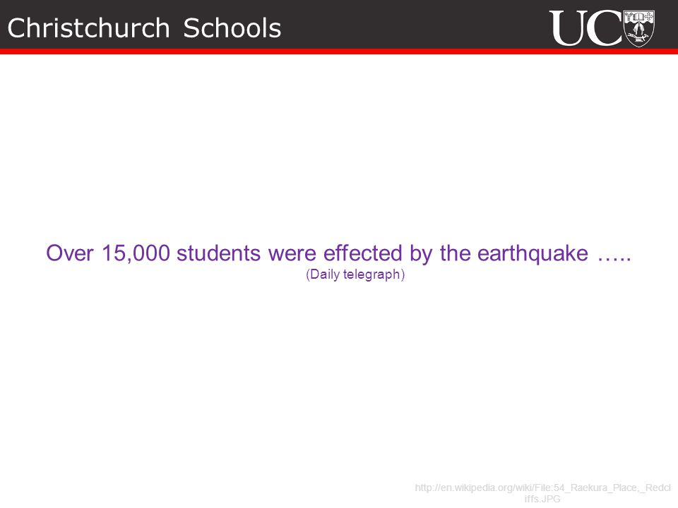 Christchurch Schools http://en.wikipedia.org/wiki/File:54_Raekura_Place,_Redcl iffs.JPG Over 15,000 students were effected by the earthquake …..
