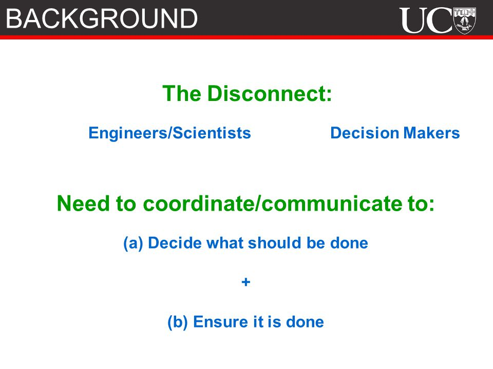 The Disconnect: Engineers/Scientists Decision Makers Need to coordinate/communicate to: (a) Decide what should be done + (b) Ensure it is done BACKGROUND