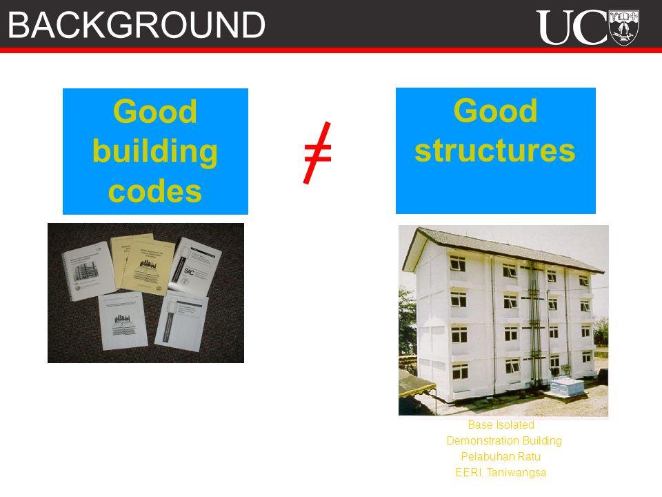 Good building codes Good structures = Base Isolated Demonstration Building Pelabuhan Ratu EERI, Taniwangsa BACKGROUND