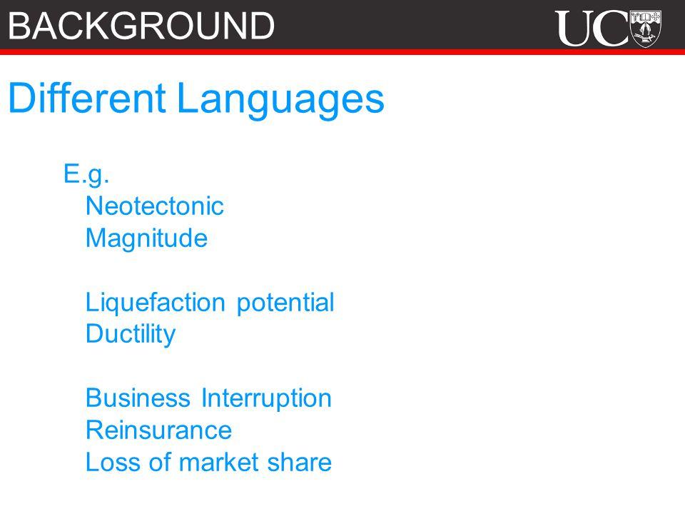 Different Languages E.g.