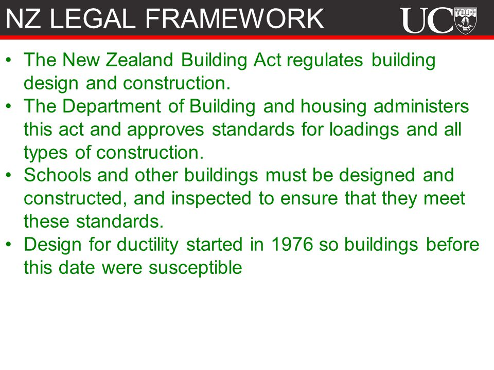 The New Zealand Building Act regulates building design and construction.