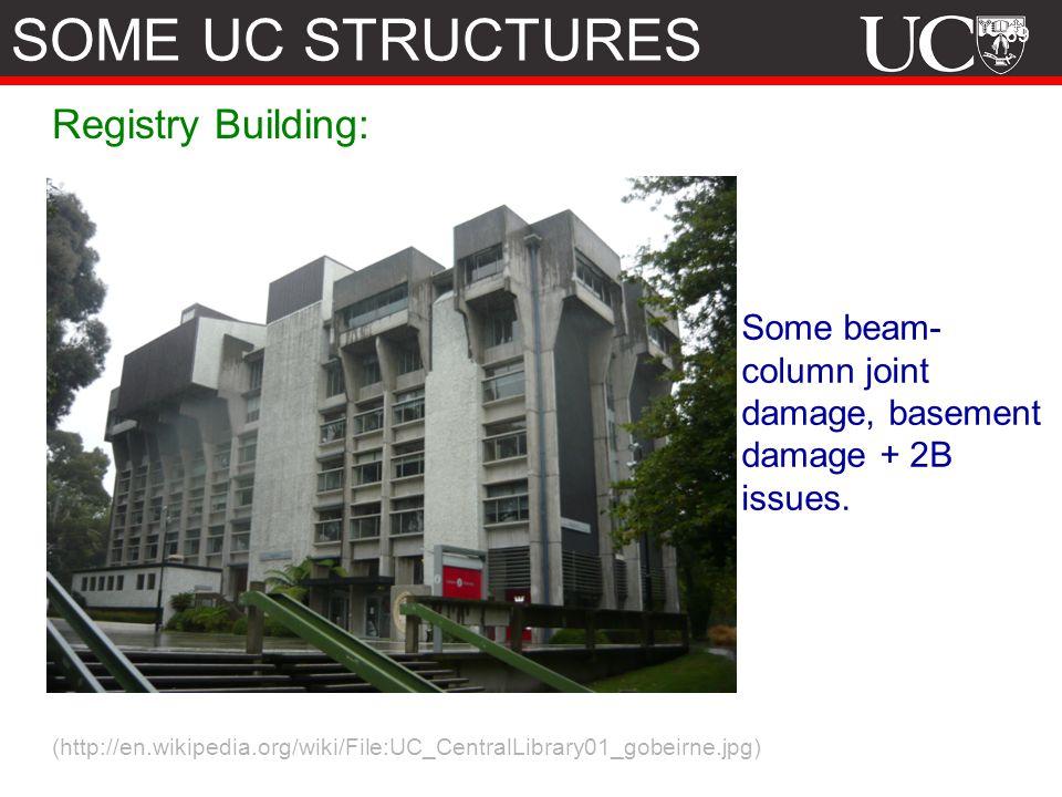 69 Registry Building: (http://en.wikipedia.org/wiki/File:UC_CentralLibrary01_gobeirne.jpg) Some beam- column joint damage, basement damage + 2B issues.
