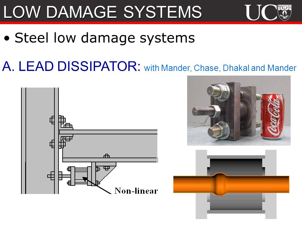 79 A. LEAD DISSIPATOR: with Mander, Chase, Dhakal and Mander Steel low damage systems LOW DAMAGE SYSTEMS