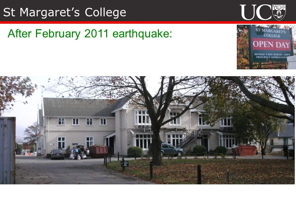 St Margarets College After February 2011 earthquake: