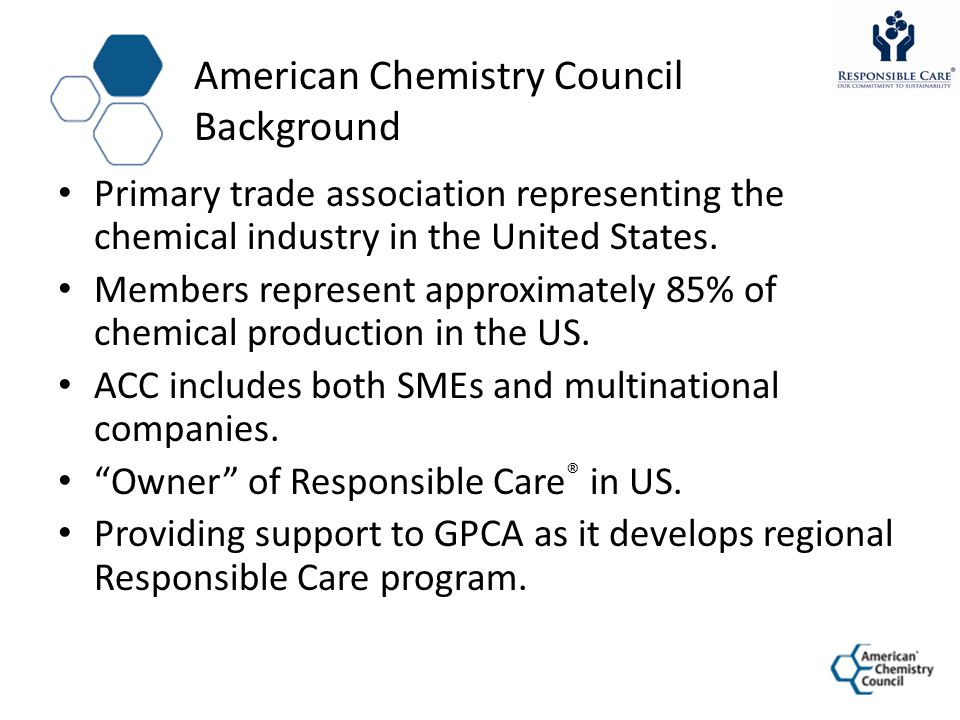 Responsible Care ® in US A Short History ACC adopted Responsible Care in 1988.
