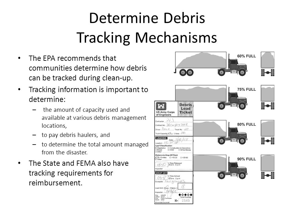Determine Debris Tracking Mechanisms The EPA recommends that communities determine how debris can be tracked during clean-up. Tracking information is