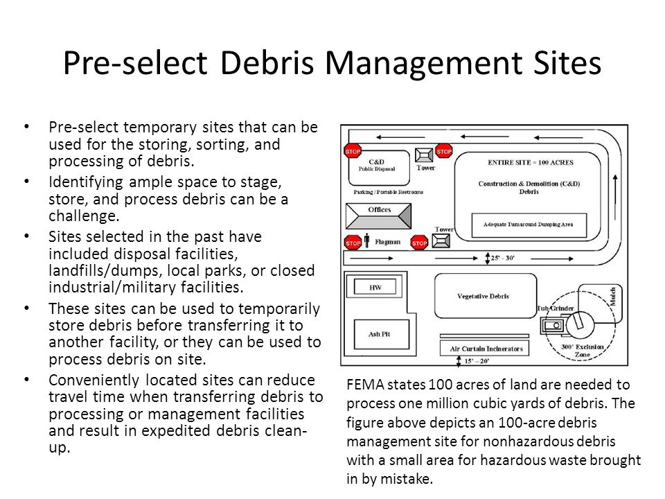 Pre-select Debris Management Sites Pre-select temporary sites that can be used for the storing, sorting, and processing of debris.