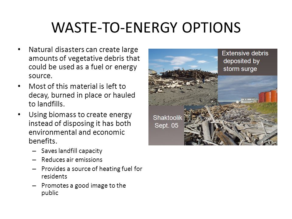 WASTE-TO-ENERGY OPTIONS Natural disasters can create large amounts of vegetative debris that could be used as a fuel or energy source.