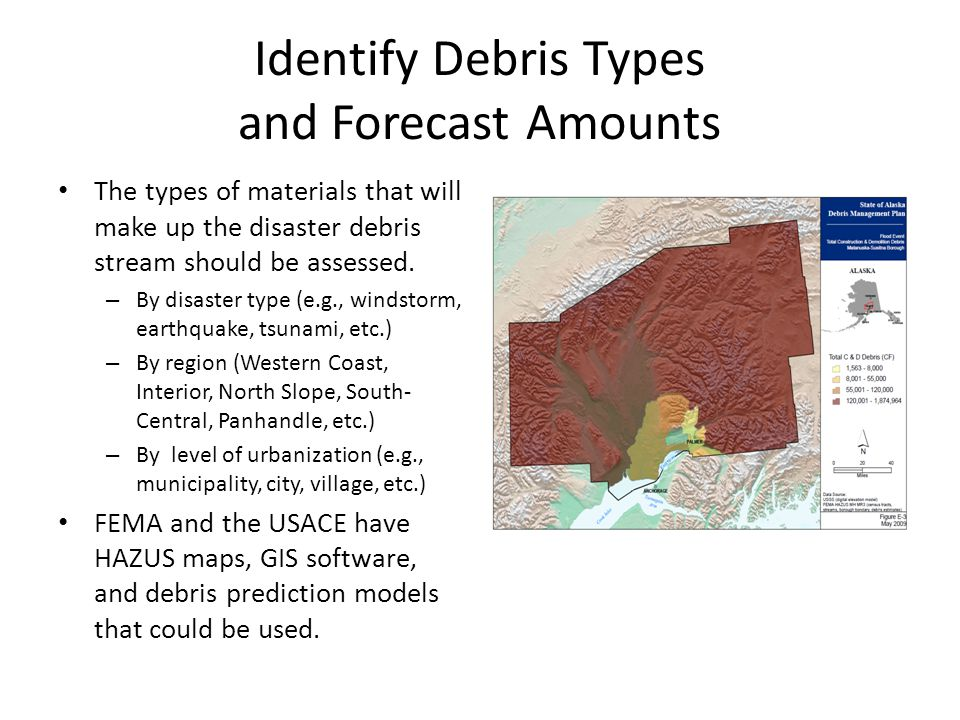 Identify Debris Types and Forecast Amounts The types of materials that will make up the disaster debris stream should be assessed.