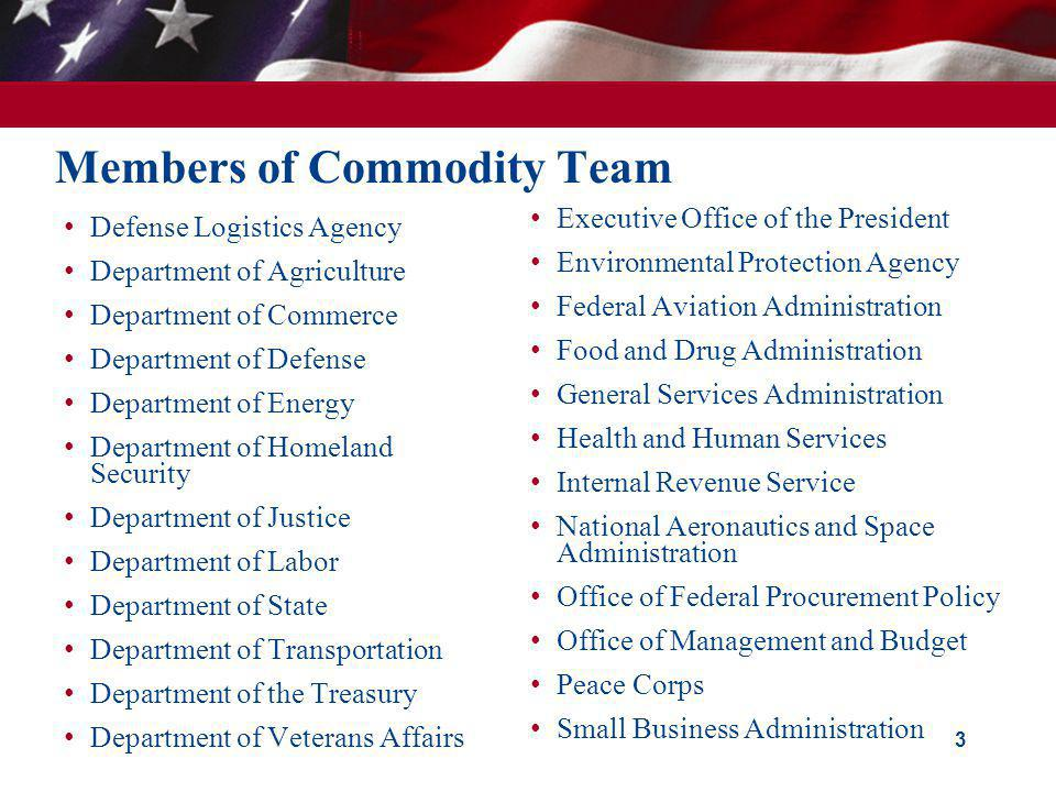 Members of Commodity Team Defense Logistics Agency Department of Agriculture Department of Commerce Department of Defense Department of Energy Departm